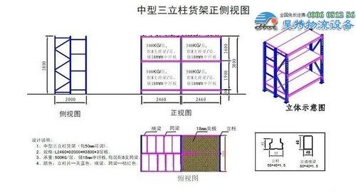 三立柱货架结构示意图浅析-行业动态-苏州货架生产商